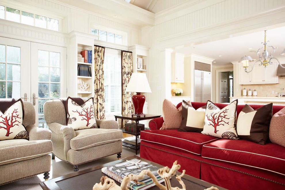French-coastal-decor-family-room-traditional-amazing-ideas-with-red-table-lamp-pattern-curtains-8